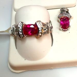 Created Ruby Ring with Begets and Pendant